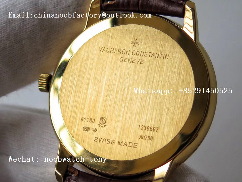 Replica Vacheron Constantin VC Patrimony Calatrava Yellow Gold KZF Best Edition White Dial on Brown Leather Strap MIYOTA 9015