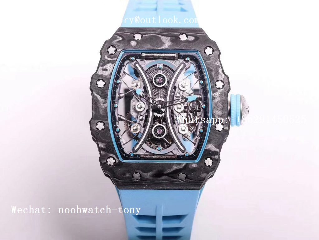 Replica Richard Mille RM 53-01 Real Tourbillon Pablo Mac Donough JBL Best Edition on Blue Rubber Strap
