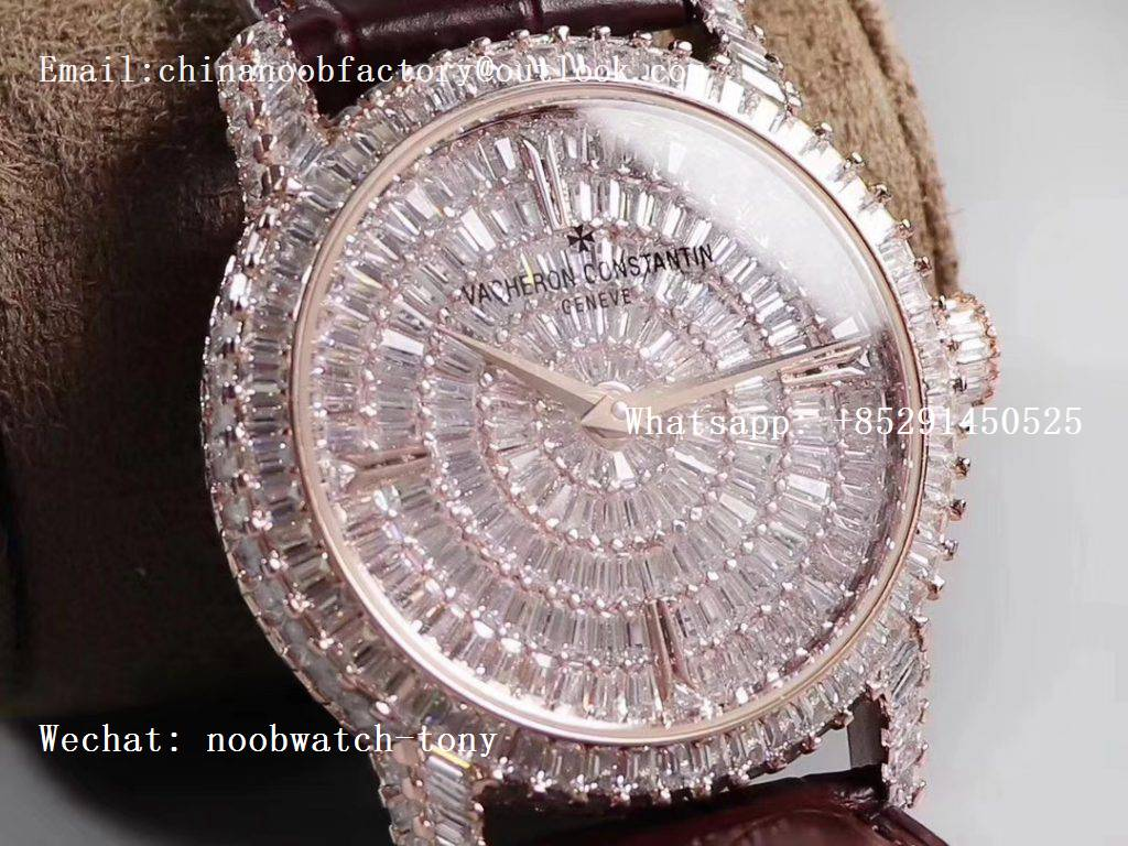 Replica Vacheron Constantin VC Traditionnelle DMF Rose Gold Diamond on Brown Leather Strap M9015