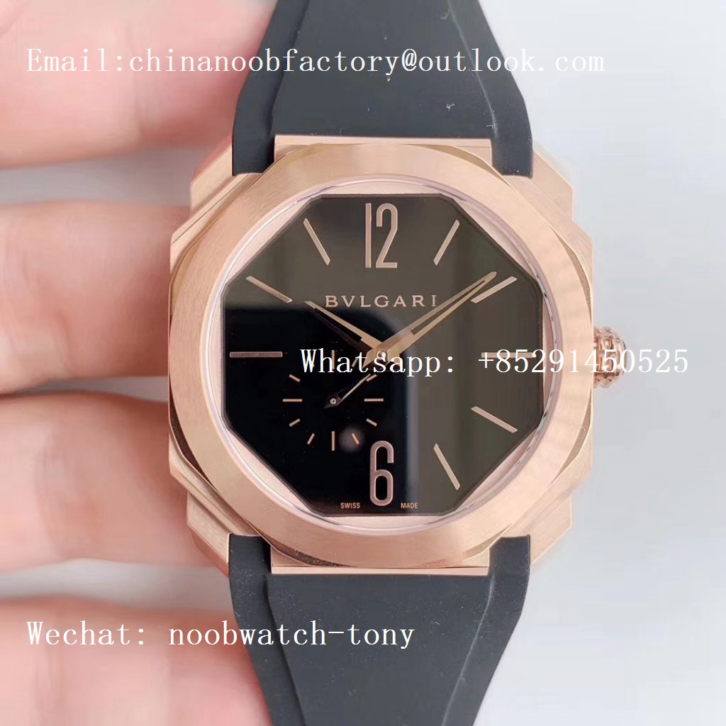 Replica Bvlgari Octo Finissimo Automatique Rose Gold OXF Best Edition Black Dial on Black Rubber Strap A138 Micro Rotor