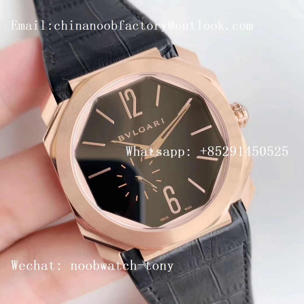 Replica Bvlgari Octo Finissimo Automatique Rose Gold OXF Best Edition Black Dial on Black Leather Strap A138 Micro Rotor