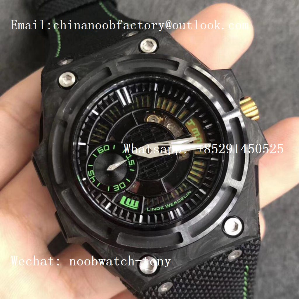 Replica Linde Werdelin Spidolite II Tech Green Forge Carbon V6F 1:1 Best Edition on Black Nylon Strap A7750 V2