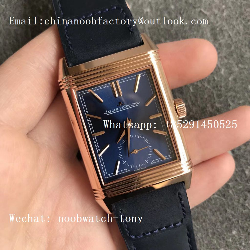 Replica Jaeger Lecoultre JLC Reverso Tribute Two Face Rose GOLD MGF 1:1 Best Edition Blue Dial Circle Sub Dial on Blue Leather Strap MG854A/2
