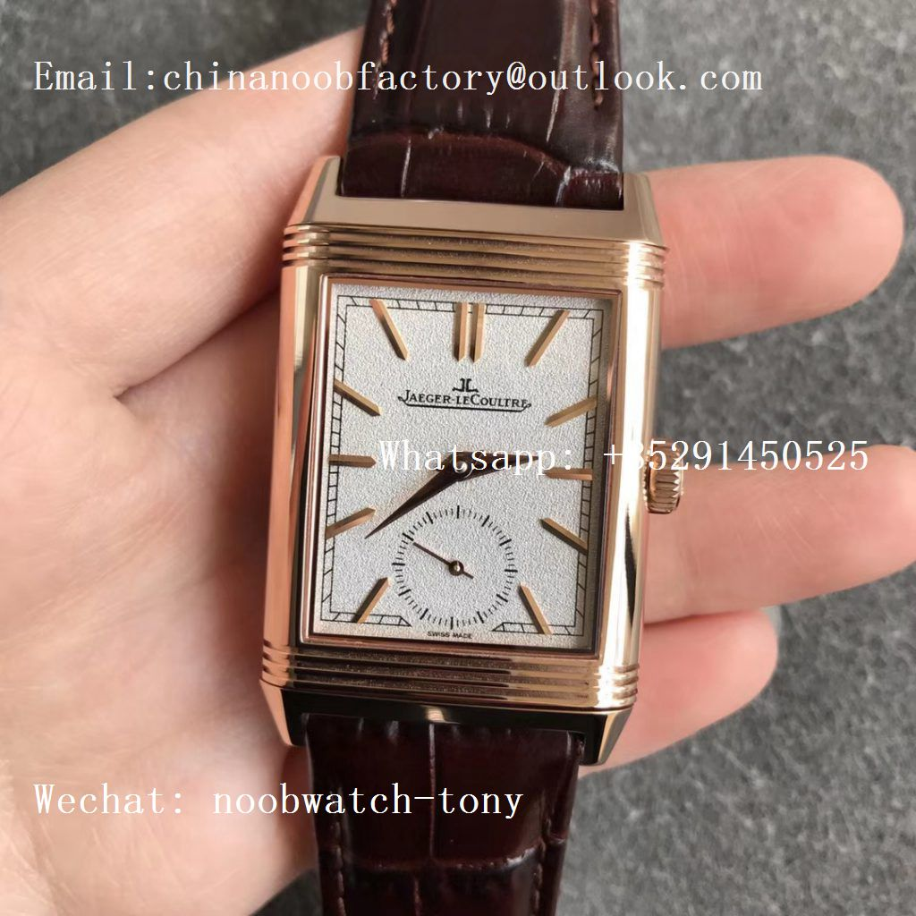 Replica Jaeger Lecoultre JLC Reverso Tribute Two Face Rose GOLD MGF 1:1 Best Edition Gray Dial Circle Sub Dial on Brown Leather Strap MG854A/2