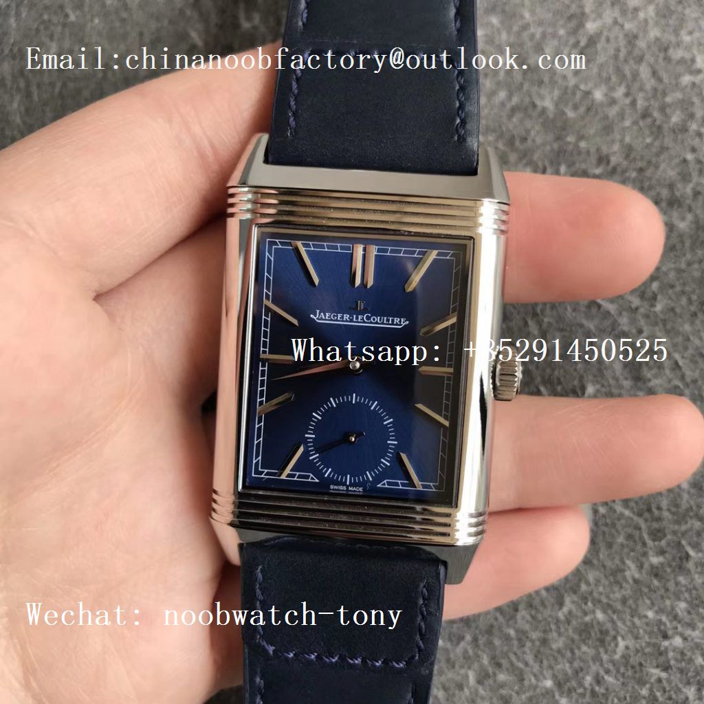 Replica Jaeger Lecoultre JLC Reverso Tribute Two Face MGF MG Factory 1:1 Best Edition Blue Dial Circle Sub Dial on Black Leather Strap MG854A/2