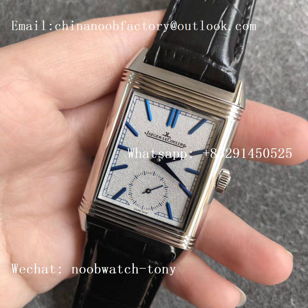 Replica Jaeger Lecoultre JLC Reverso Tribute Two Face MGF MG Factory 1:1 Best Edition Gray Dial Circle Sub Dial on Black Leather Strap MG854A/2