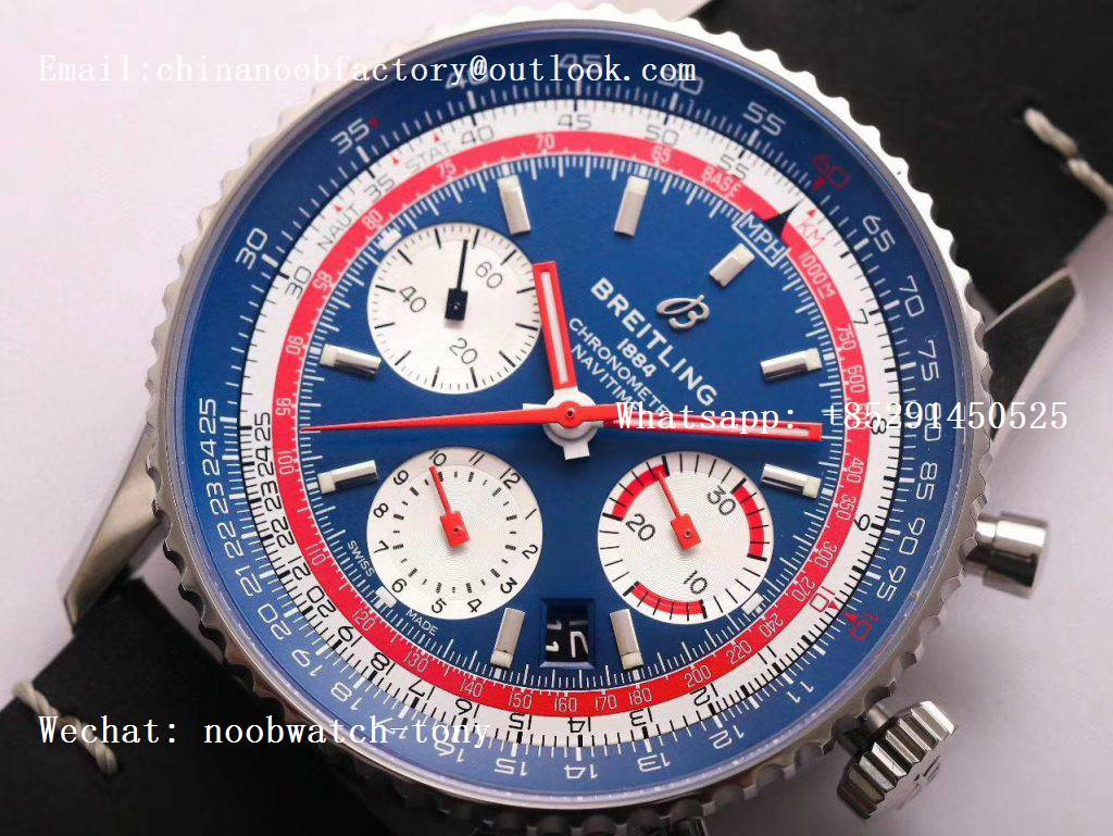 Replica Breitling Navitimer B01 Chronograph 43mm TWA Editioin SS V9F 1:1 Blue Dial on Brown Leather Strap A7750