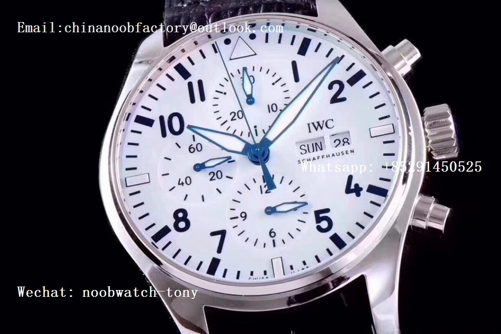 Replica IWC Pilot Chrono 377725 150 Years ZF 1:1 Best Edition White Dial on Black Leather Strap A7750