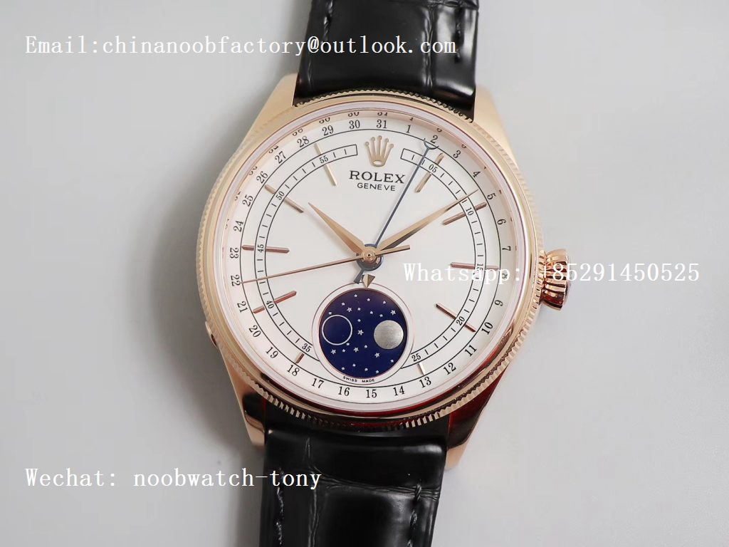 Replica Rolex Cellini 50535 Moonphase ZZF Rose Gold White dial on leather strap A3195