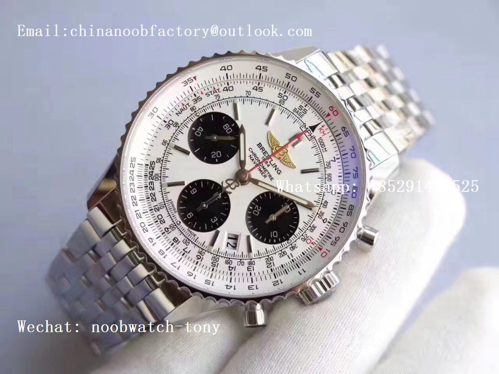 Replica Breitling Navitimer 01 SS JF 1:1 Best Edition WHITE Dial on SS Bracelet A7750
