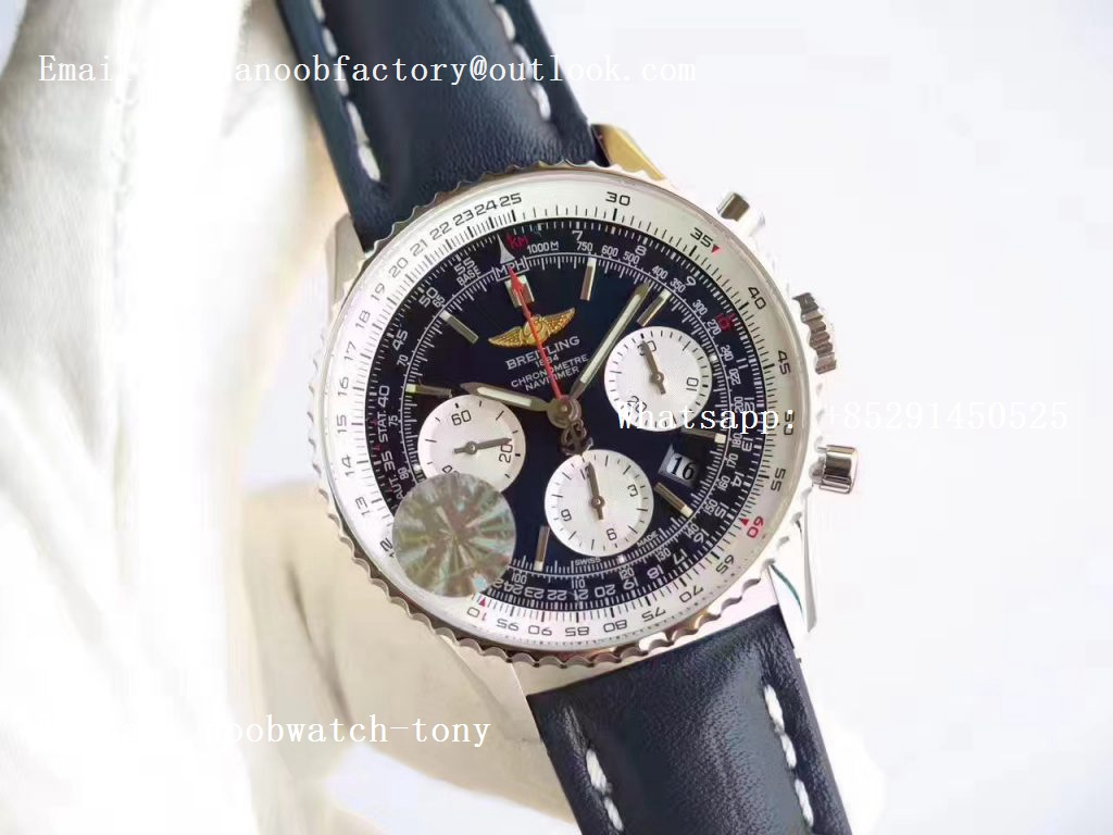Replica Breitling Navitimer 01 SS JF 1:1 Best Edition Blue Dial on Blue Leather Strap A7750