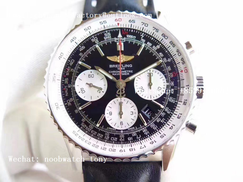 Replica Breitling Navitimer 01 SS JF 1:1 Best Edition Black Dial on Black Leather Strap A7750