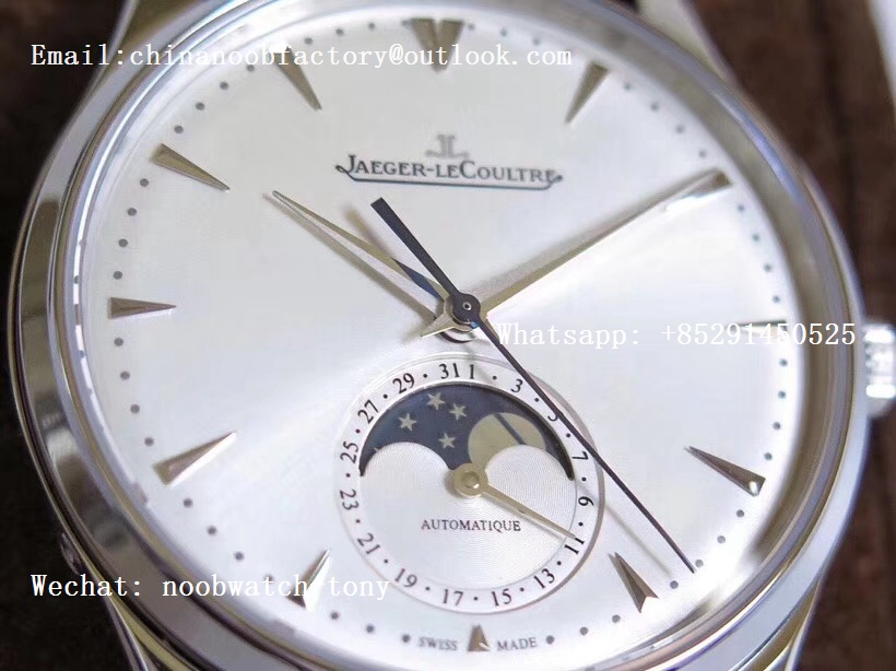 Replica Jaeger Lecoultre JLC Master Ultra Thin Moon 1368420 SS ZF 1:1 Best Edition White Dial on Black Leather Strap A925