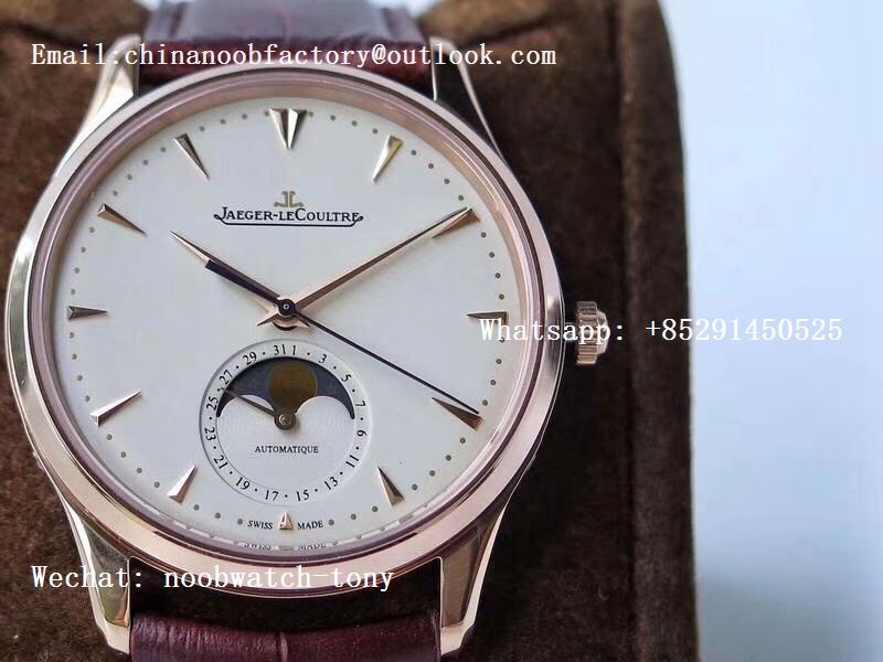 Replica Jaeger Lecoultre JLC Master Ultra Thin Moonphase 1362520 Rose GOLD ZF 1:1 Best Edition Silver Dial on Brown Leather Strap A925