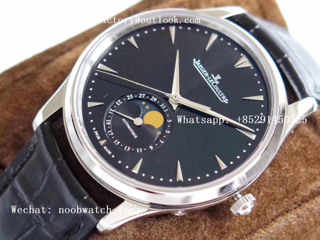 Replica Jaeger Lecoultre JLC Master Ultra Thin Moonphase 1368420 SS ZF 1:1 Best Edition Black Dial on Black Leather Strap A925