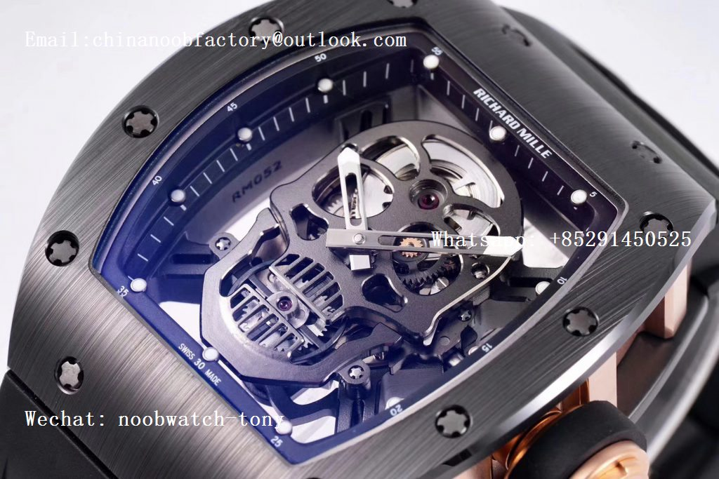 Replica Richard Mille RM052 Skull Black Ceramic ZF 1:1 Best Edition Black Skeleton Dial on Black Rubber Strap NH05A