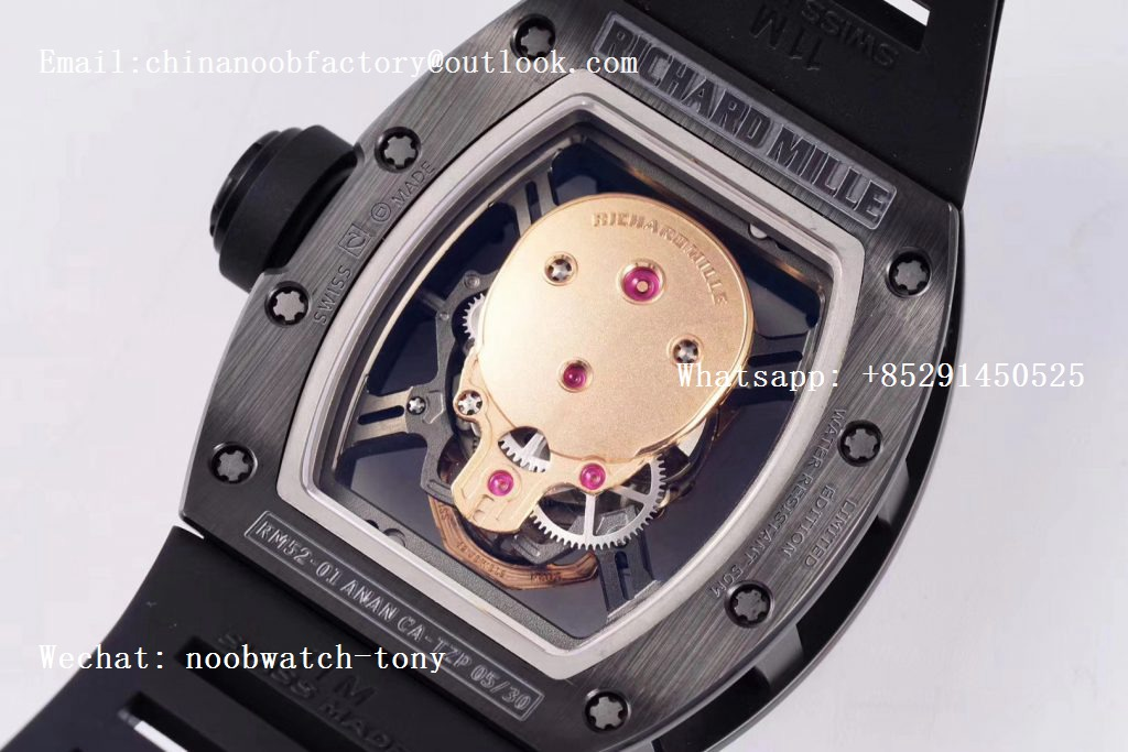 Replica Richard Mille RM052 Skull Black Ceramic ZF 1:1 Best Edition Rose Gold Skeleton Dial on Black Rubber Strap NH05A