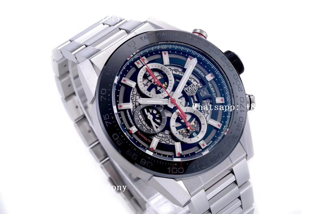 Replica TAG Heuer Carrera Calibre Heuer Chrono SS/PVD XF 1:1 Best Edition Skeleton Dial on Steel Bracelet A1887
