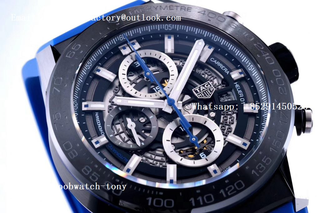 Replica TAG Heuer Carrera Calibre Heuer Chrono SS/PVD XF 1:1 Best Edition Skeleton Dial on Blue Rubber Strap A1887