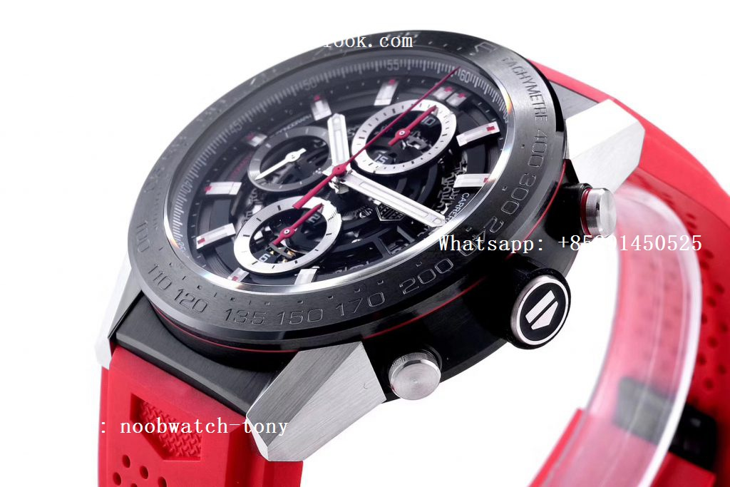 Replica TAG Heuer Carrera Calibre Heuer Chrono SS/PVD XF 1:1 Best Edition Skeleton Dial Red Hand on Red Rubber Strap A1887