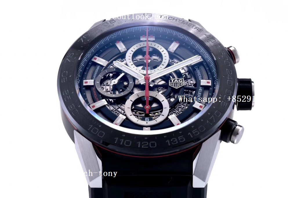 Replica TAG Heuer Carrera Calibre Heuer Chrono SS/PVD XF 1:1 Best Edition Skeleton Dial on Black Rubber Strap A1887