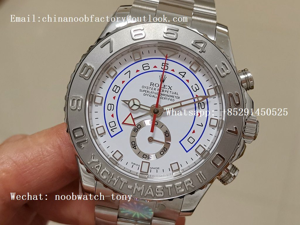 Replica ROLEX YachtMaster II 2017 baselworld 116689 SS JF 1:1 Best Edition White Dial on SS Bracelet A7750