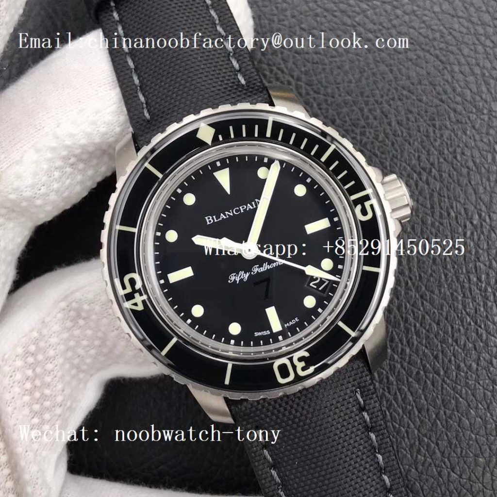 Replica Blancpain Fifty Fathoms Nageurs de Combat ZF 1:1 Best Edition Black '7' Dial on Black Sail-canvas Strap A2836