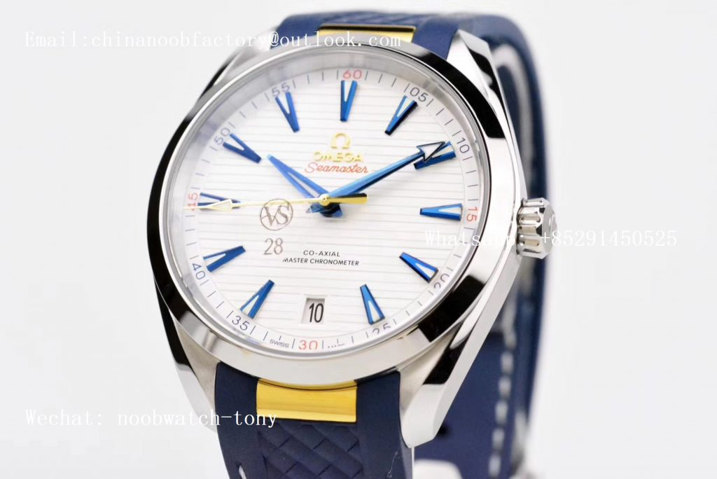 Replica OMEGA Aqua Terra 150M Master Chronometers VSF 1:1 Best Edition White Dial Gold Hand on Blue Rubber Strap A8900 Super Clone