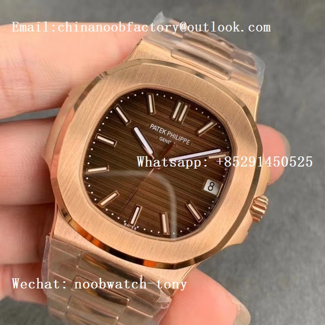 Replica Patek Philippe Nautilus 5711/1R Rose Gold 3KF 1:1 Best Edition Brown Textured Dial on RG Bracelet A324 Super Clone