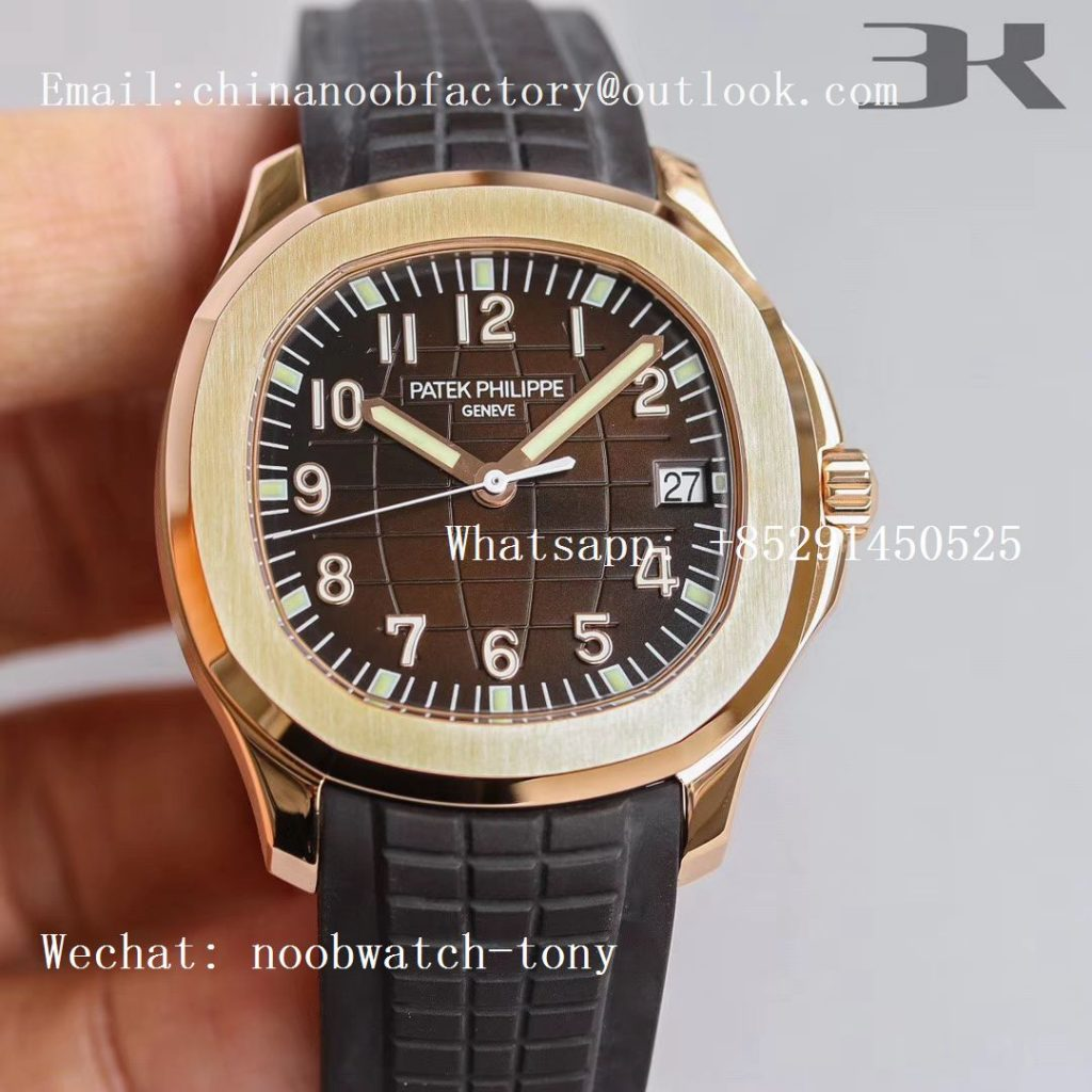 Replica Patek Philippe Aquanaut 5167R Rose Gold 3KF 1:1 Best Edition Brown Dial on Brown Rubber Strap A324 Super Clone